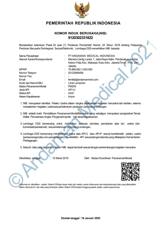 Andaman Medical Indonesia NIB Business Registration Number