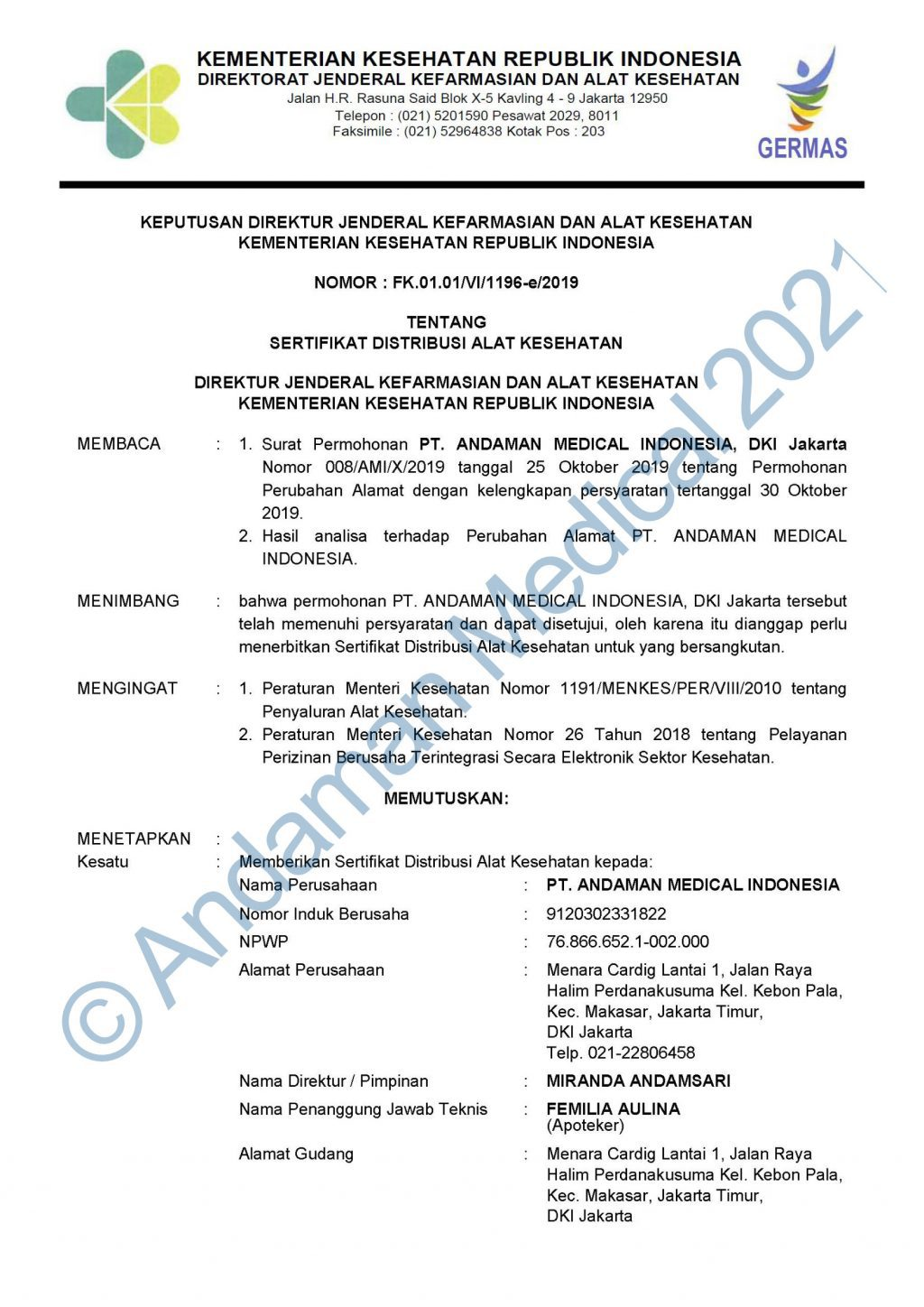 Andaman Medical Indonesia SDAK Medical Device Distribution Certificate