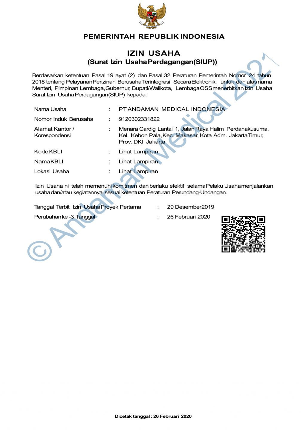 Andaman Medical Indonesia SIUP Business License