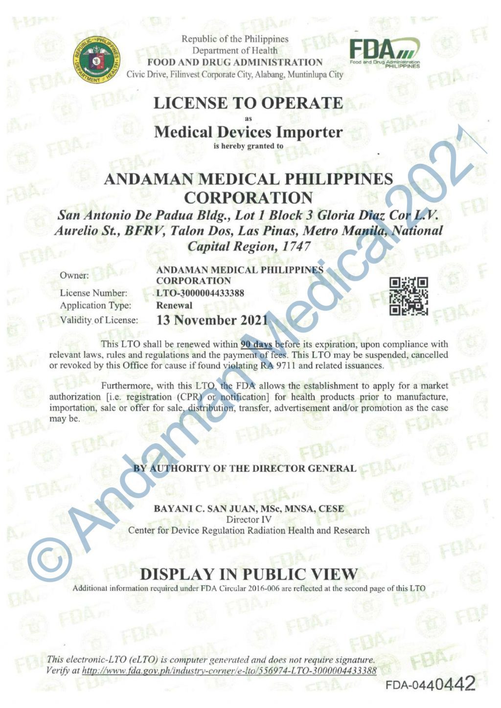 Andaman Medical Philippines FDA License to Operate