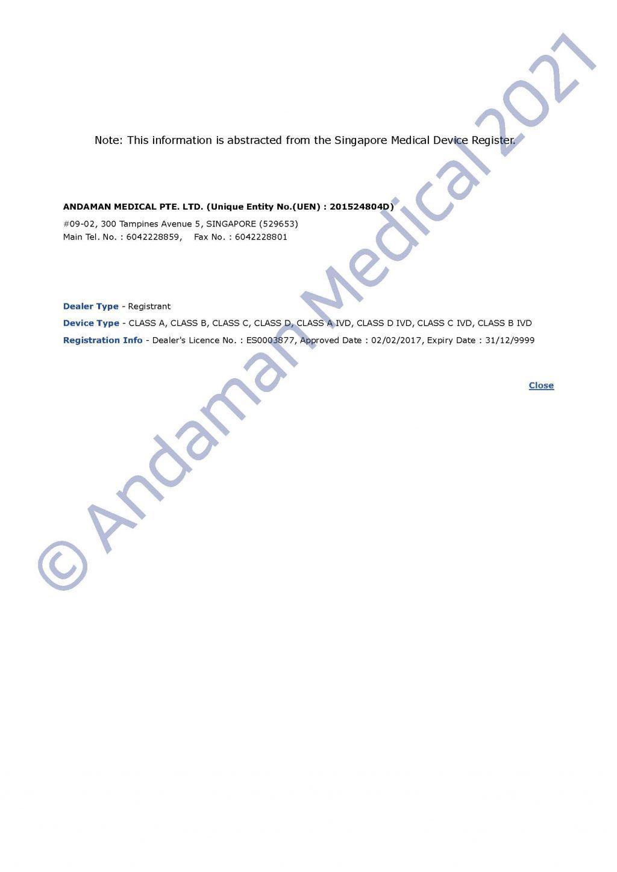 Andaman Medical Singapore Establishment License