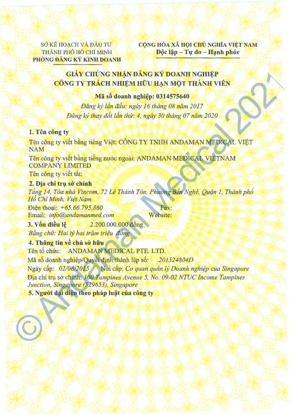Andaman Medical Vietnam Business License