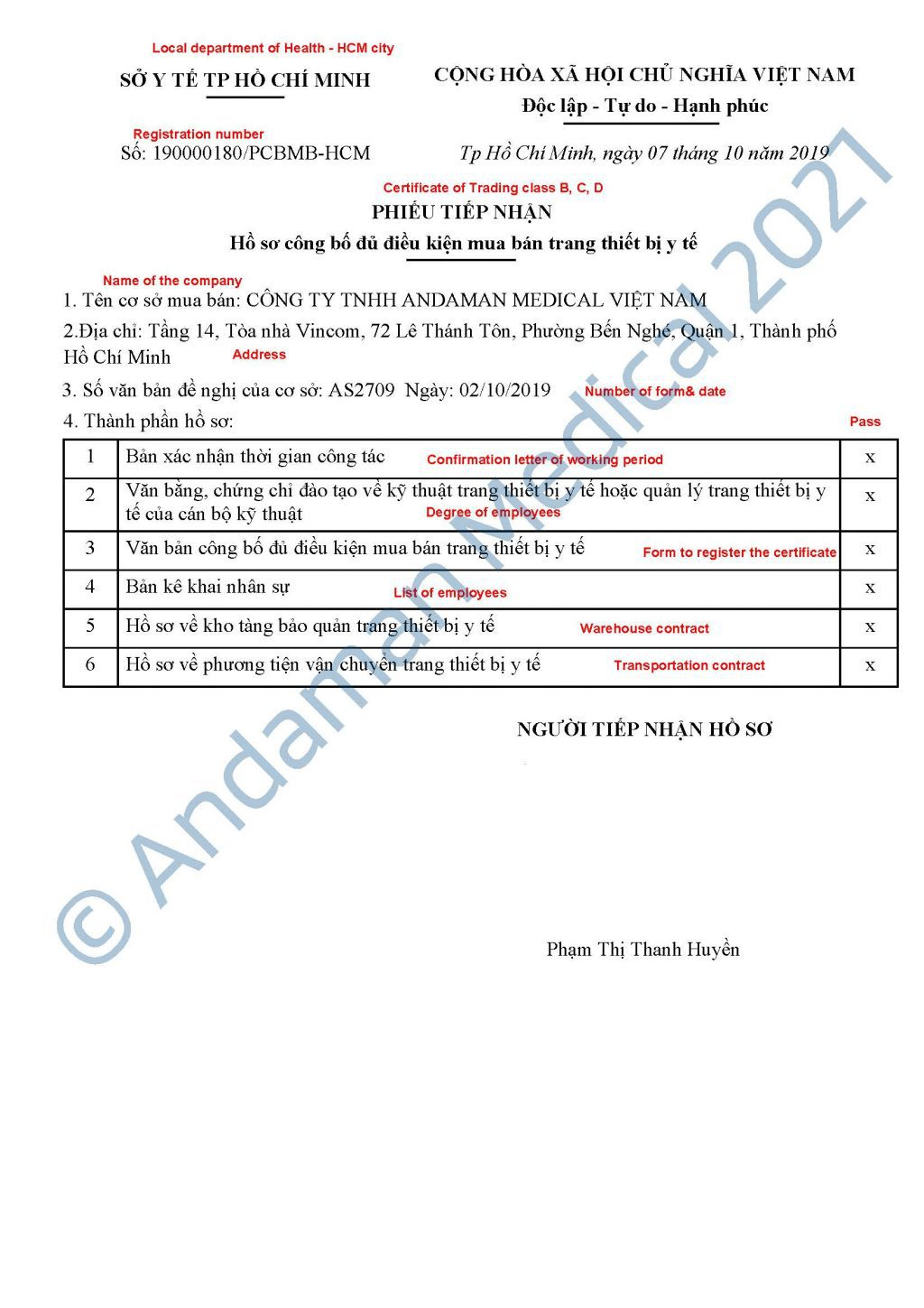 Andaman Medical Vietnam Certificate of Trading Class B C D Medical Devices