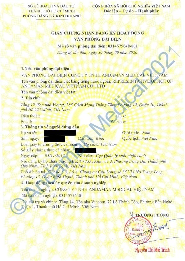 Andaman Medical Vietnam Representative Office License